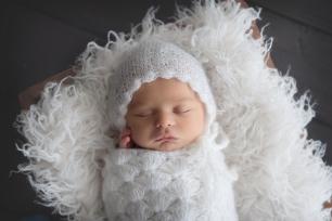newborn baby girl white lace