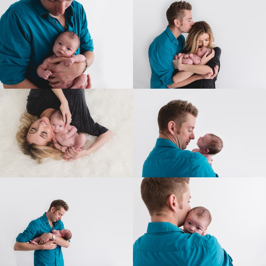 parent pictures with awake newborn